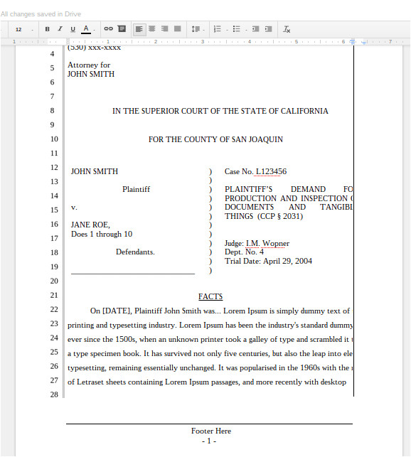 Pleadings Template A New Google Docs Pleading for California Lawyers the