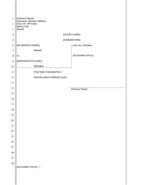Pleadings Template Legal Pleading Paper 28 Lines Template Templates