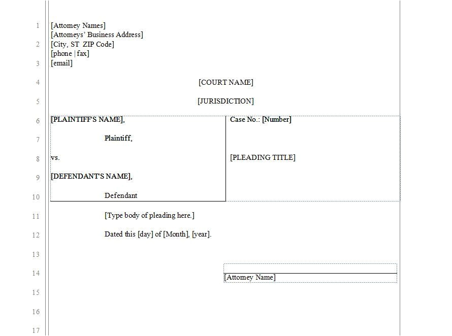 legal pleading paper template free