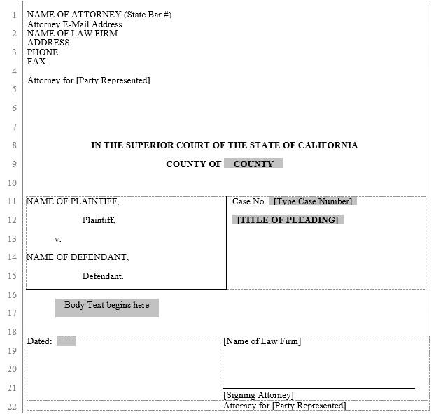 pleading form california superior court