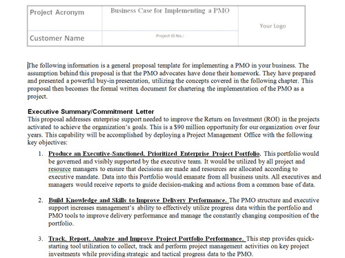 pmo implementation templates