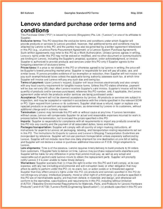 Po Terms and Conditions Template 7 Purchase order Terms and Conditions Template Uk