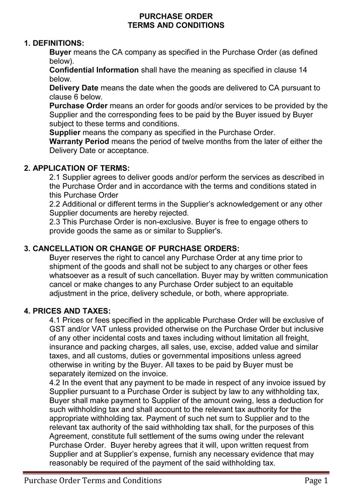 Po Terms and Conditions Template Terms and Conditions Templates to Write Polices for Your
