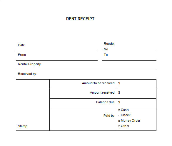 simple and easy to use property rental receipt template format sample