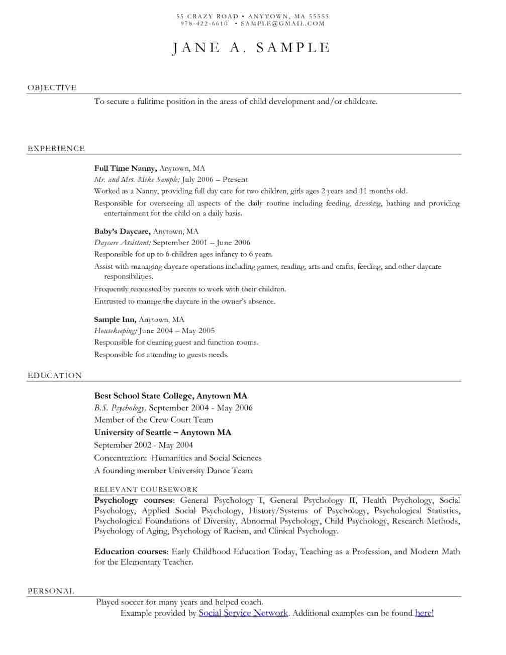 resume examples for childcare teachers