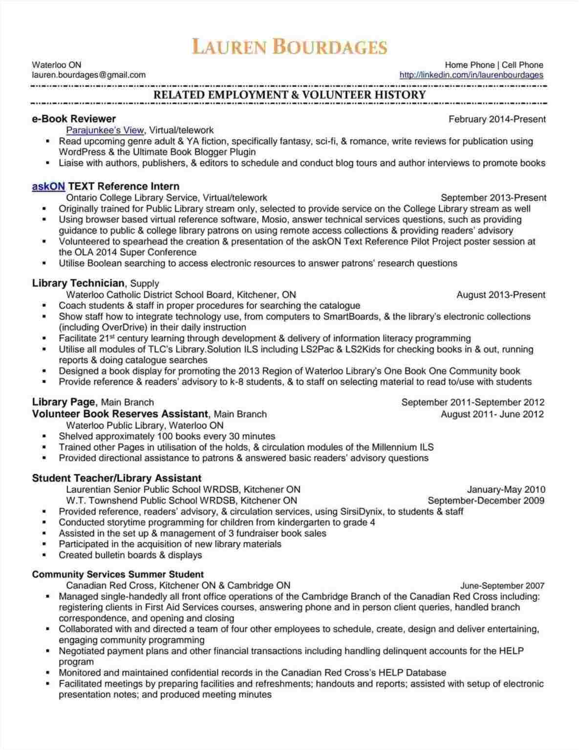 resume examples for library jobs