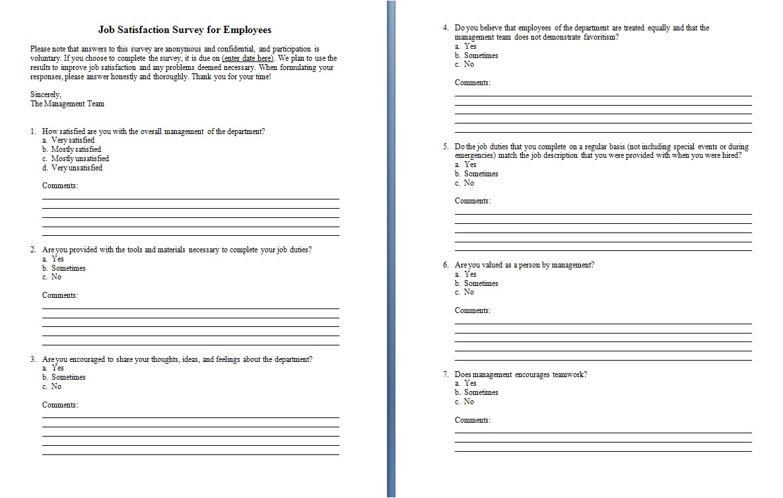survey template word
