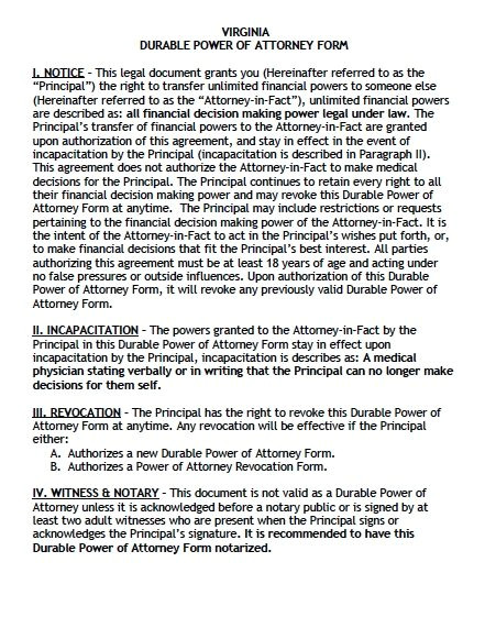 durable power attorney virginia form adobe pdf