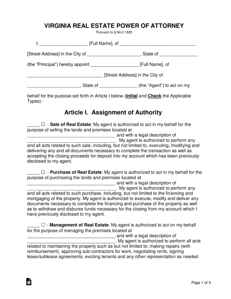 virginia real estate power of attorney form