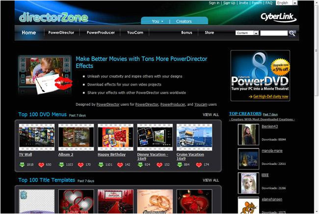 powerdirector dvd menu templates