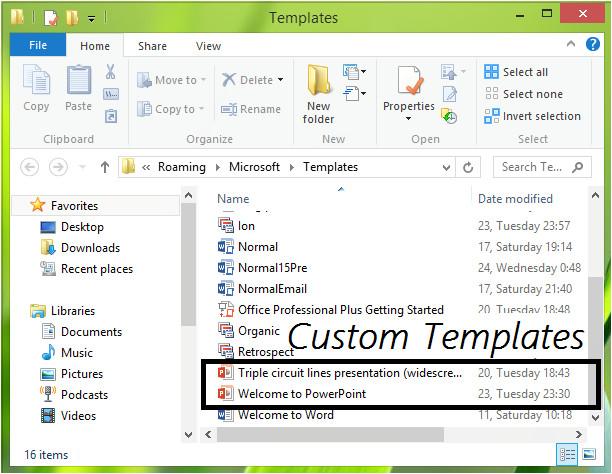 custom templates installation location office