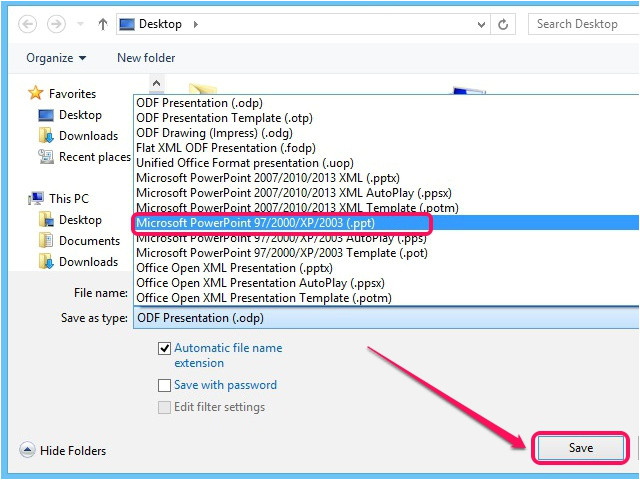 how to open odp files in powerpoint