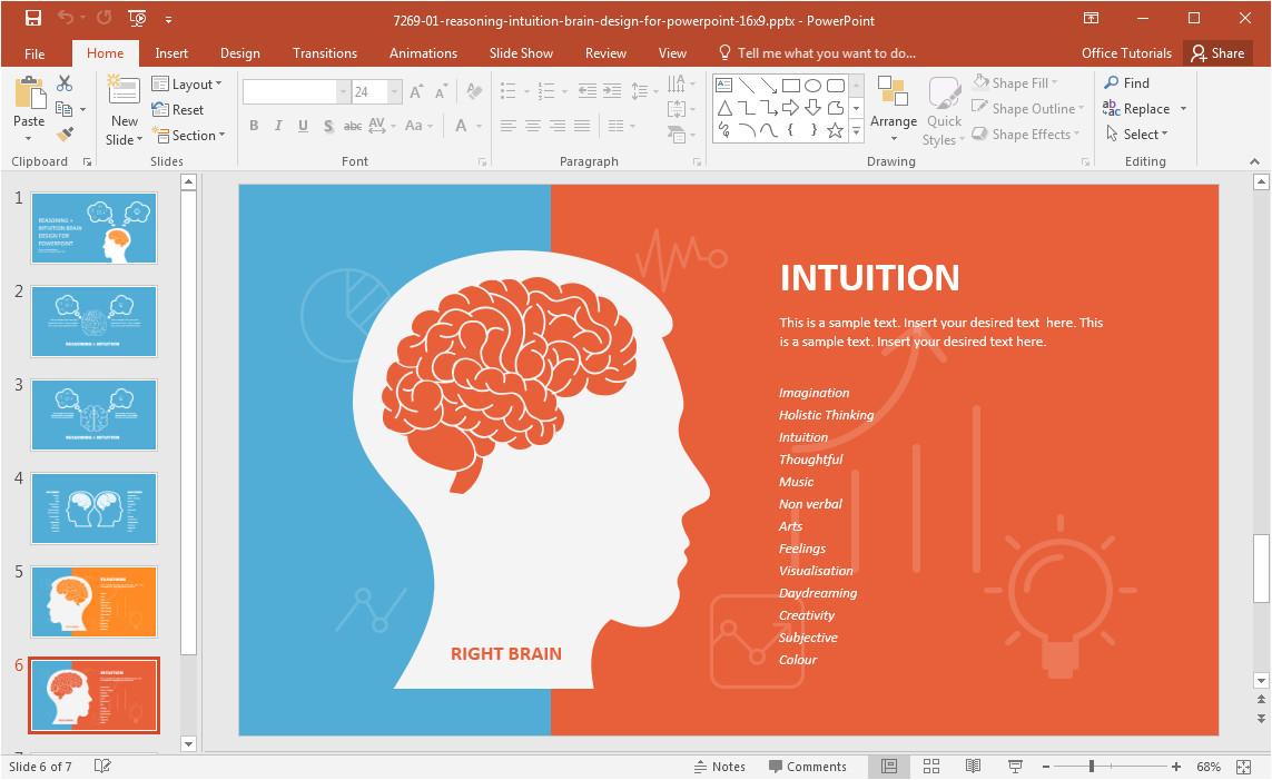 left brain vs right brain powerpoint template