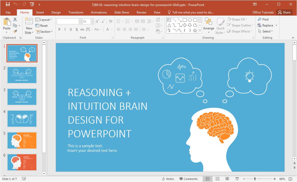 Powerpoint theme Vs Template Left Brain Vs Right Brain Powerpoint Template