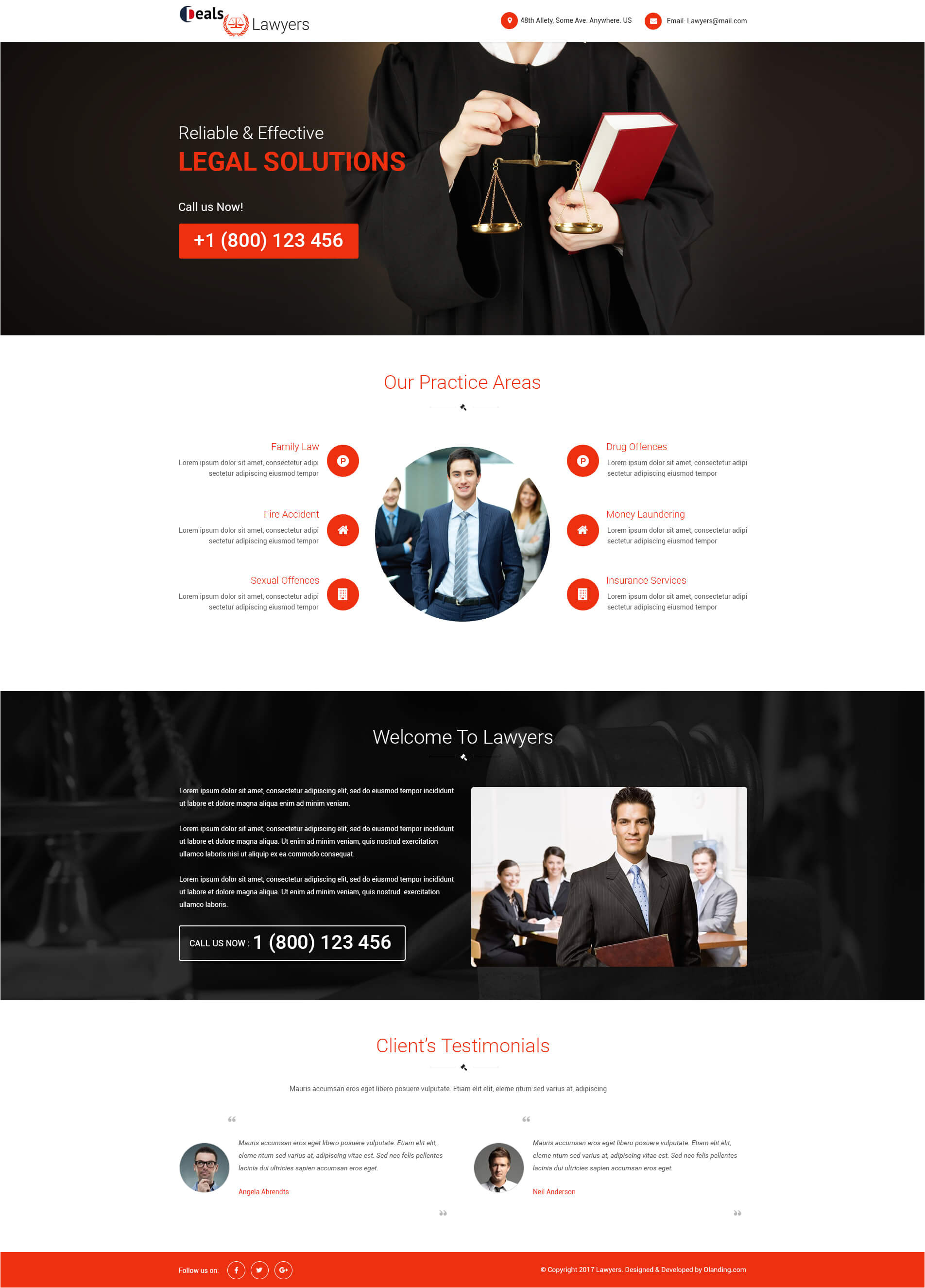 attorney and law ppc landing page design template with free landing page builder