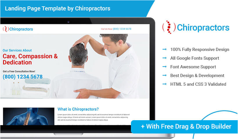 html5 responsive download chiropractic ppc landing page template design with free builder for your chiropractic treatment service