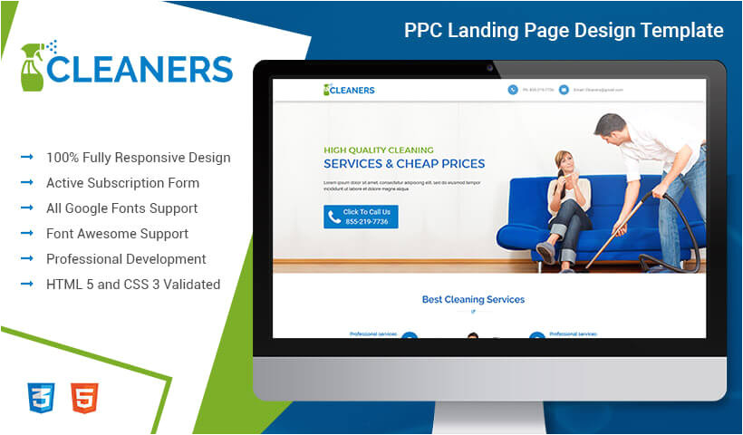 lead gen responsive professional and converting cleaning service ppc landing page template design