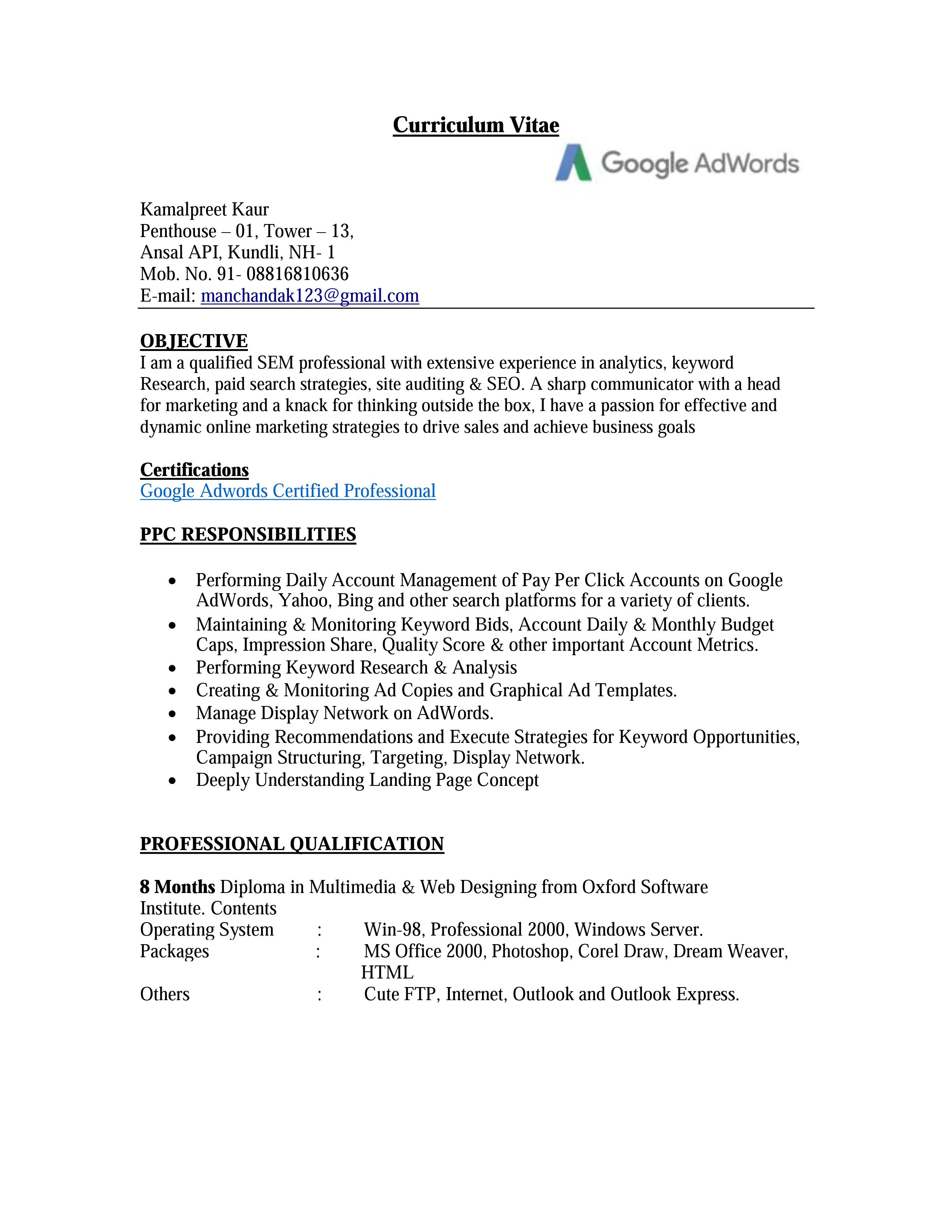 Ppc Resume Sample Know the Essentials Of A Ppc Resume for Job Opportunity
