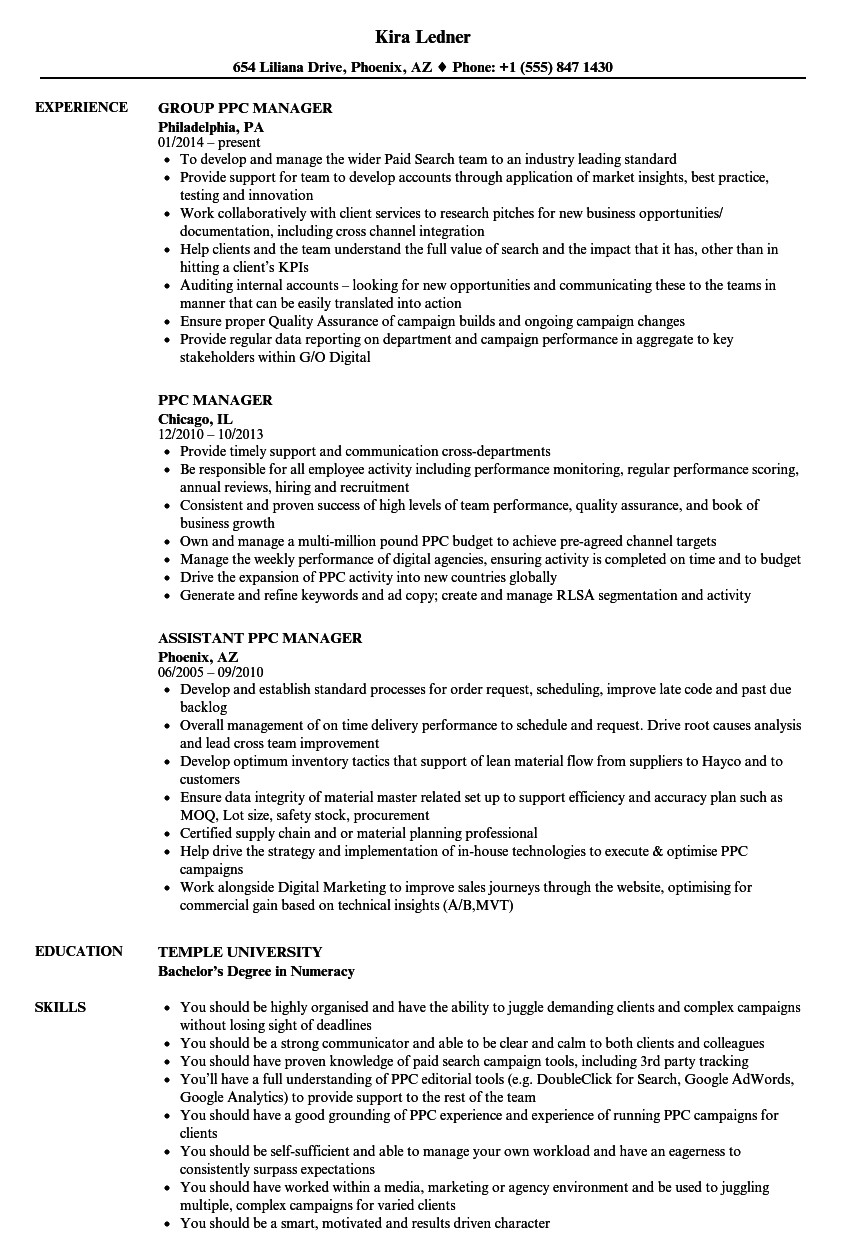 ppc manager resume sample