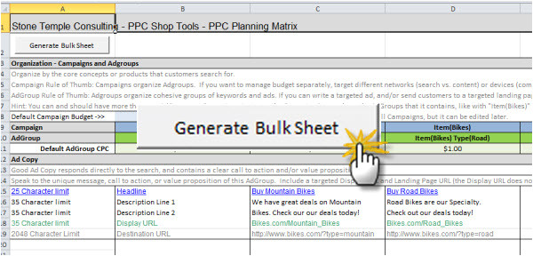 Ppc Strategy Template Ppc Planning Matrix Search Engine Land