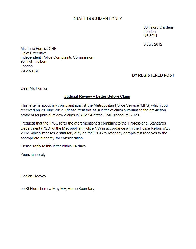 home office pre action protocol letter