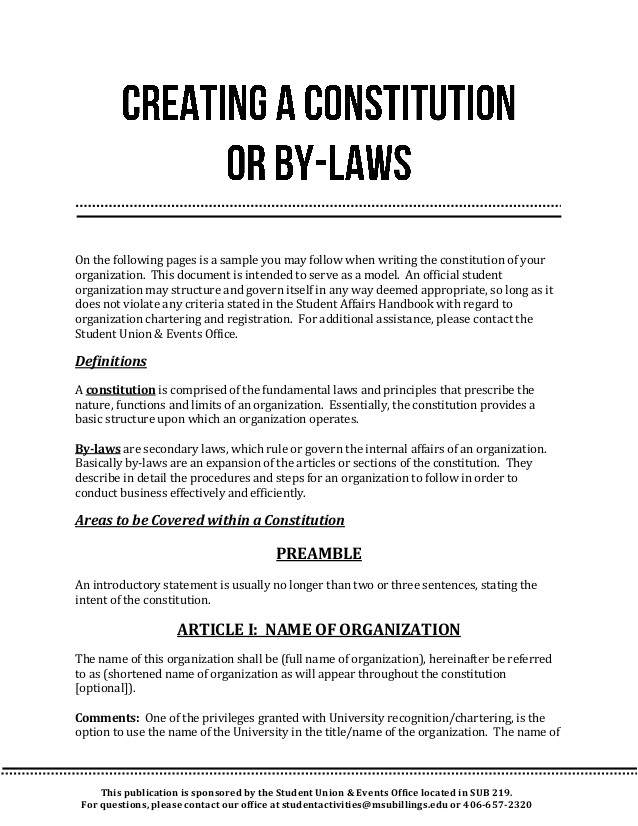 creating a constitution or bylaws