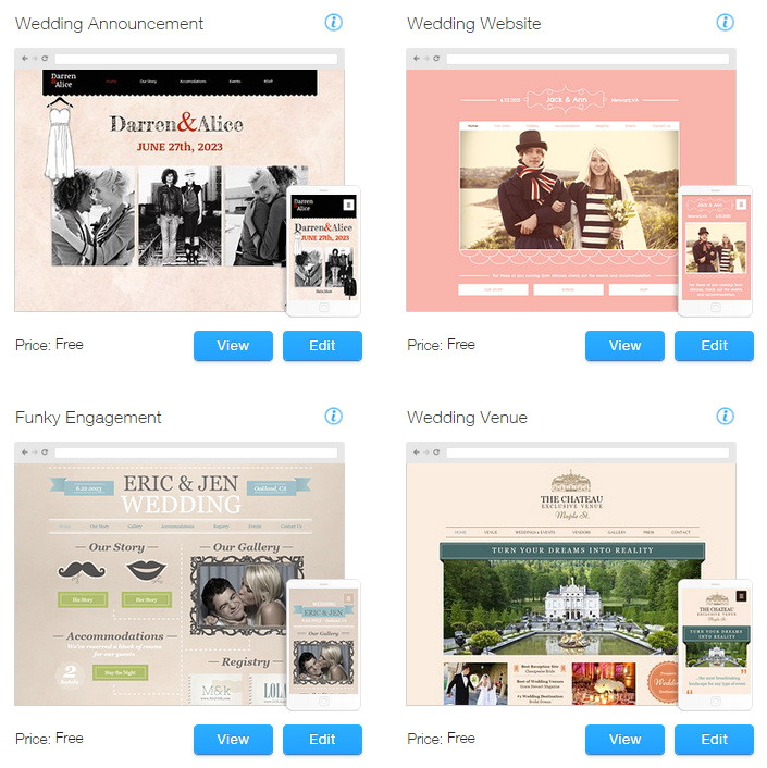 wix website templates for weddings and events