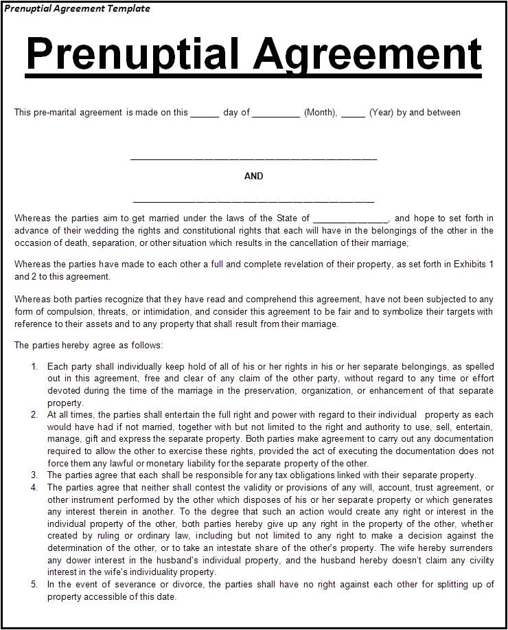 screenwriters prenuptial agreement