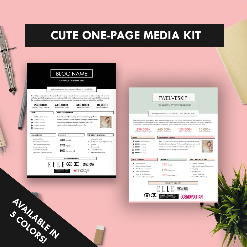 Press Packet Template Cute One Page Media Kit Template Press Kit Pastel Black