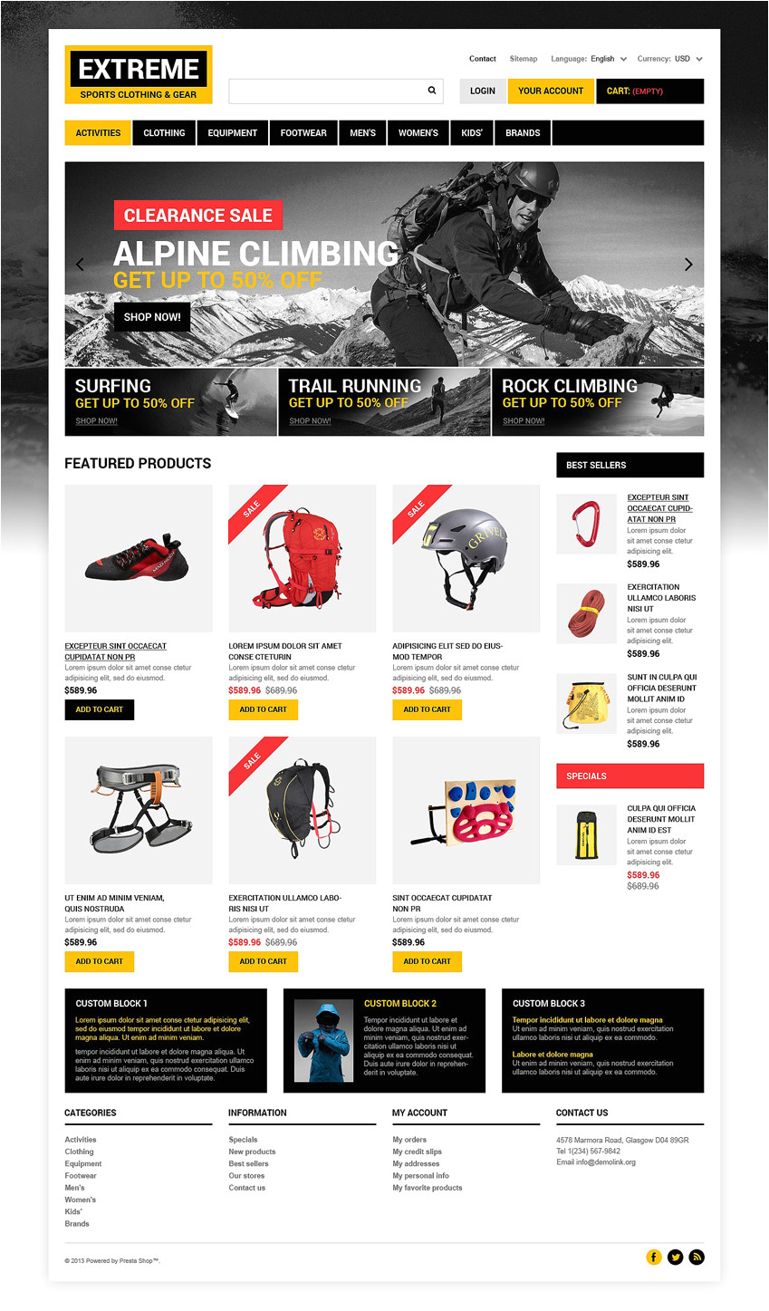 Presta Shop Templates 10 Sports Prestashop themes Free Premium Templates