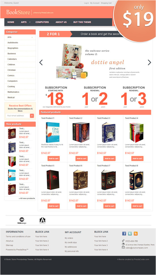 Presta Shop Templates Book Store Prestashop theme