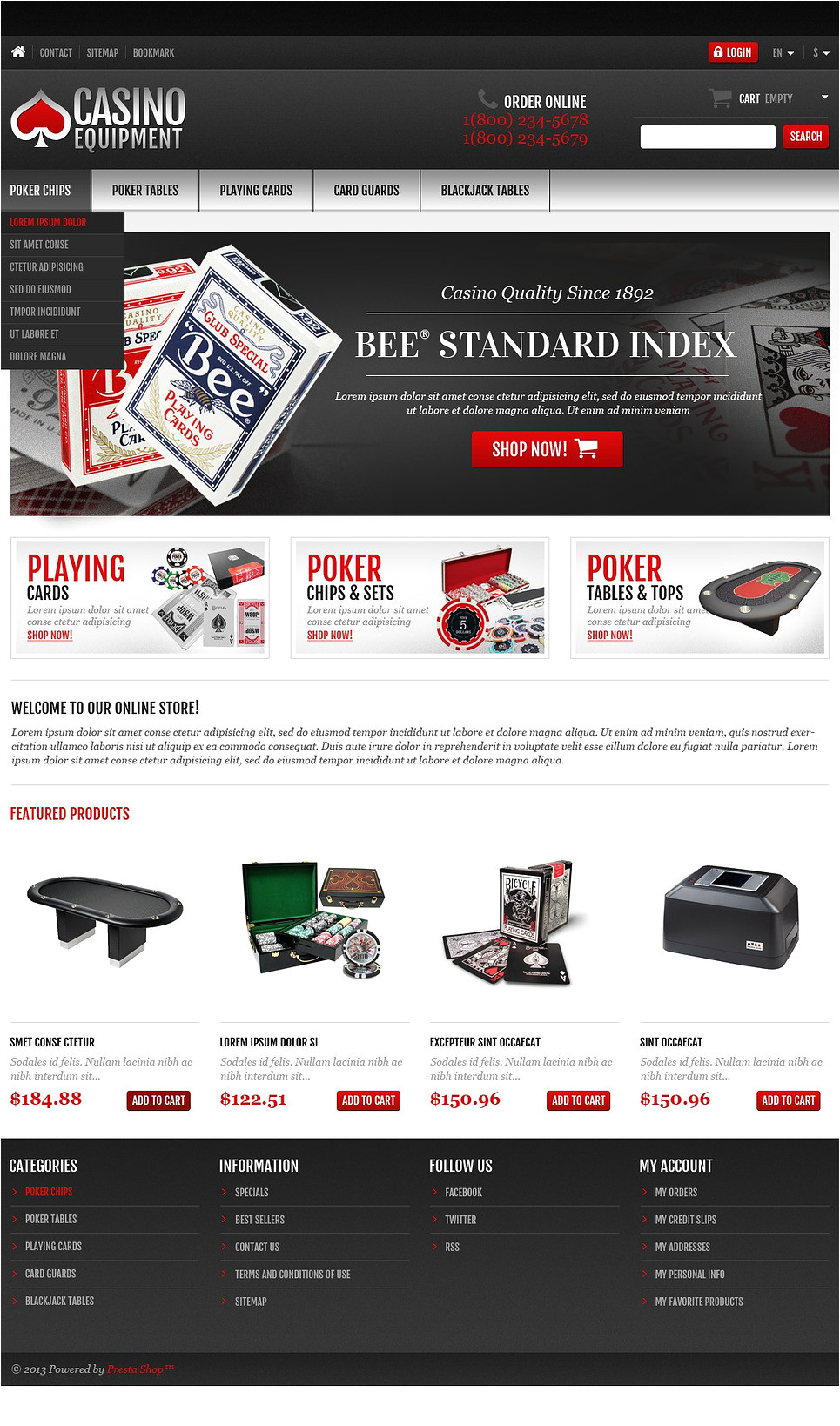 Presta Shop Templates Casino Equipment Store Prestashop theme 45022
