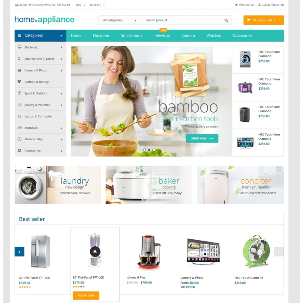 14 home appliances prestashop theme