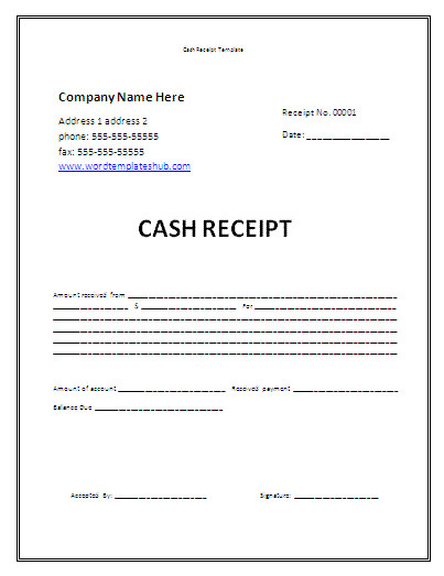 printable sample cash receipt template layout for your business