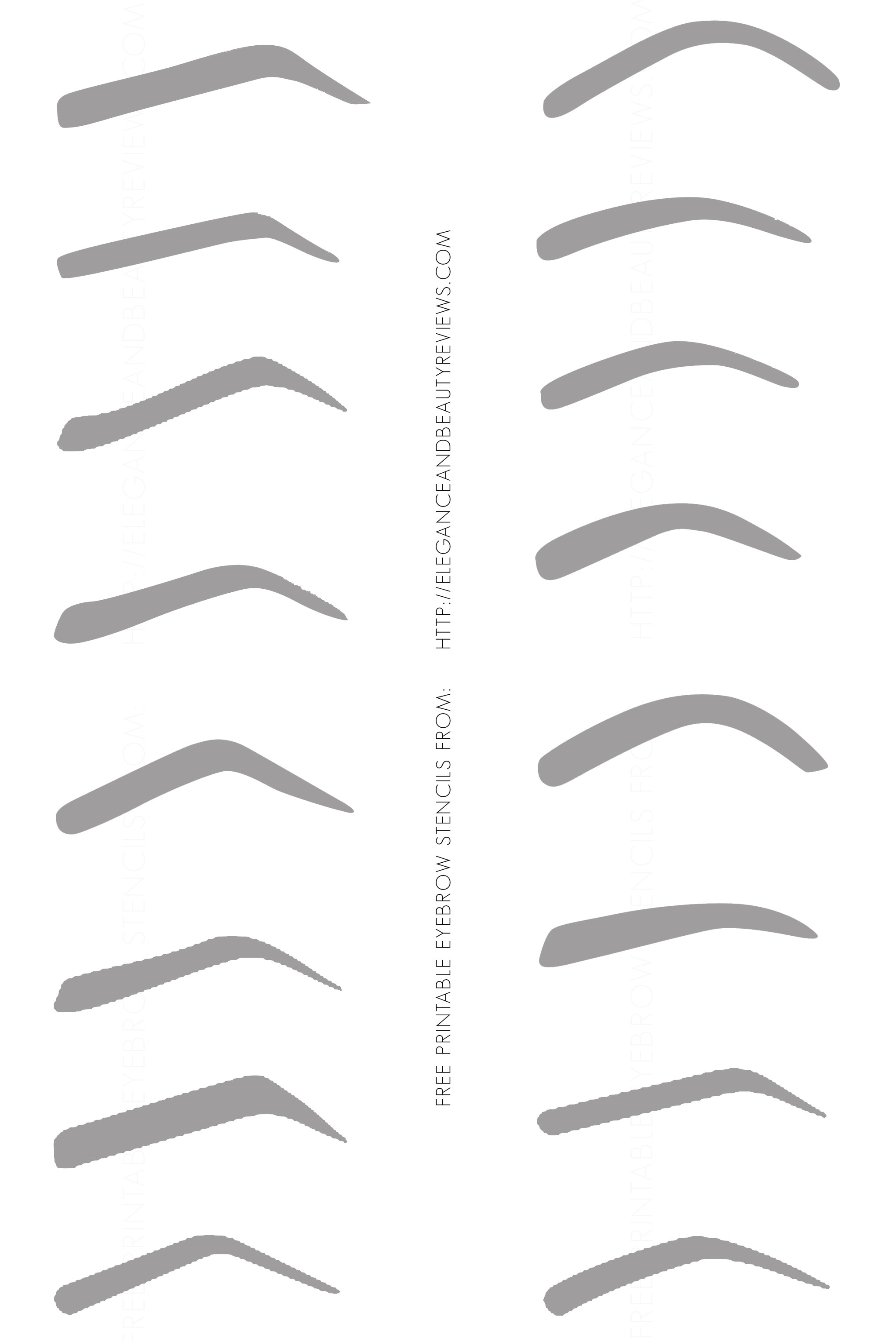 Printable Eyebrow Stencil Template Free Printable Eyebrow Stencils