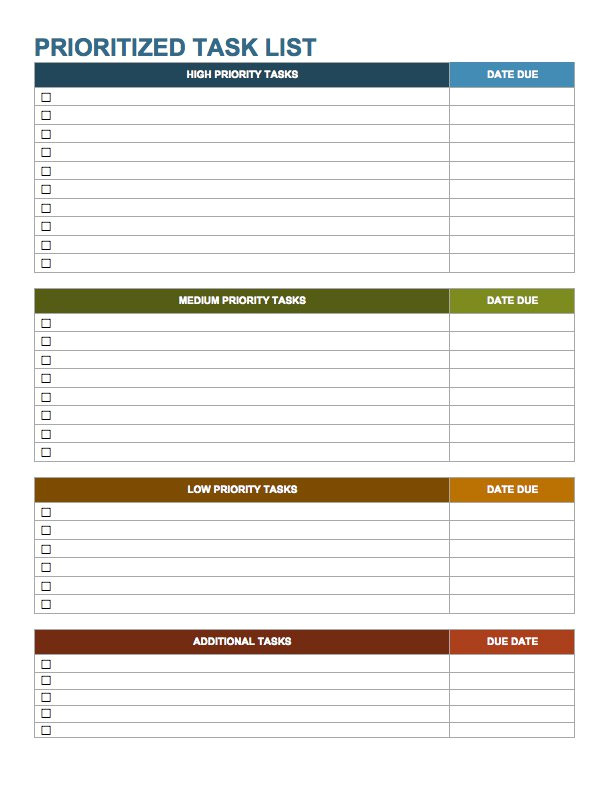 Prioritizing Tasks Template 15 Free Task List Templates Smartsheet