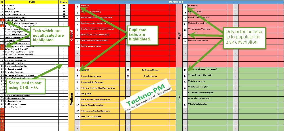 Prioritizing Tasks Template Prioritization Matrix Template Excel Set Task and