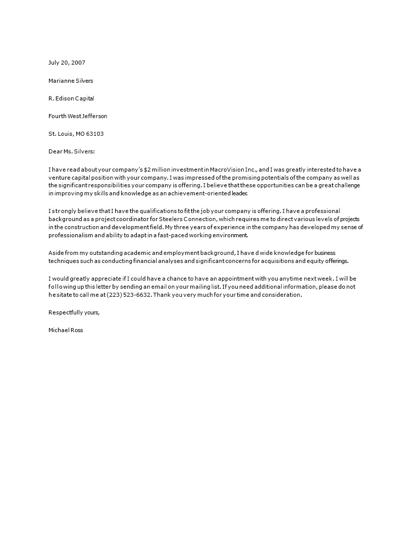 private equity cover letter