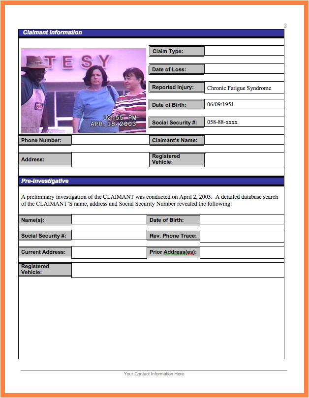 5 private investigator surveillance report template