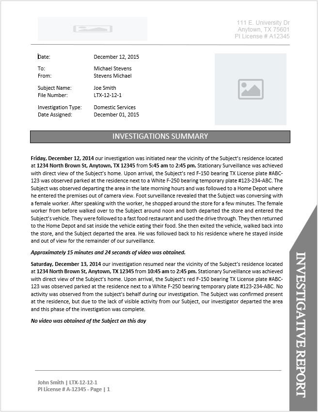 surveillance investigation report template