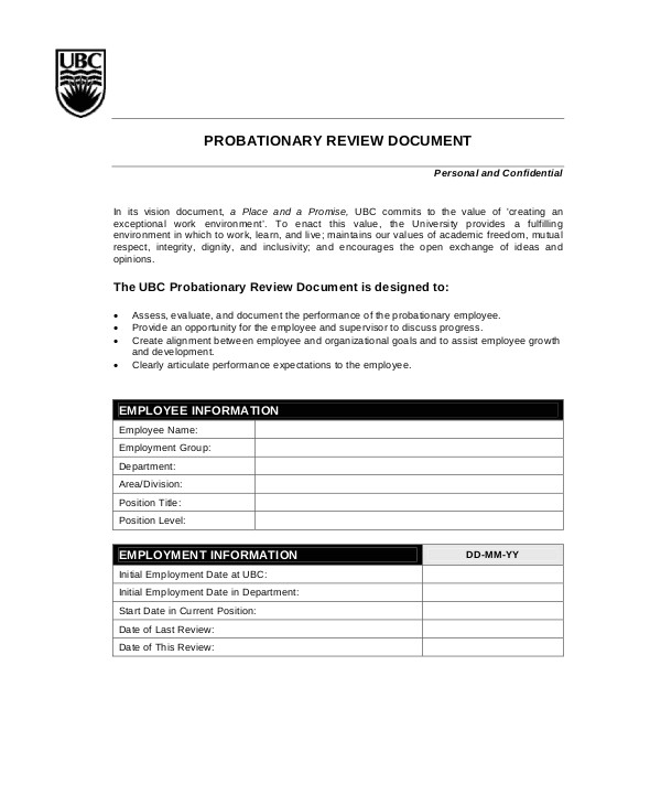 employee monthly review template