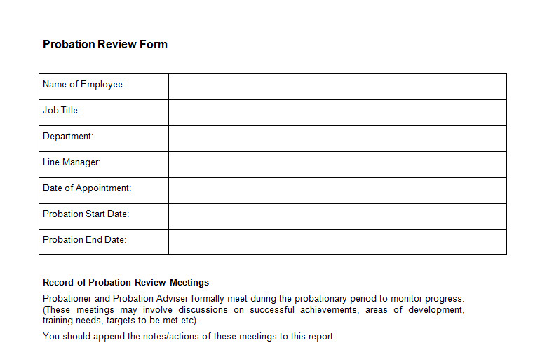 probaton review form template