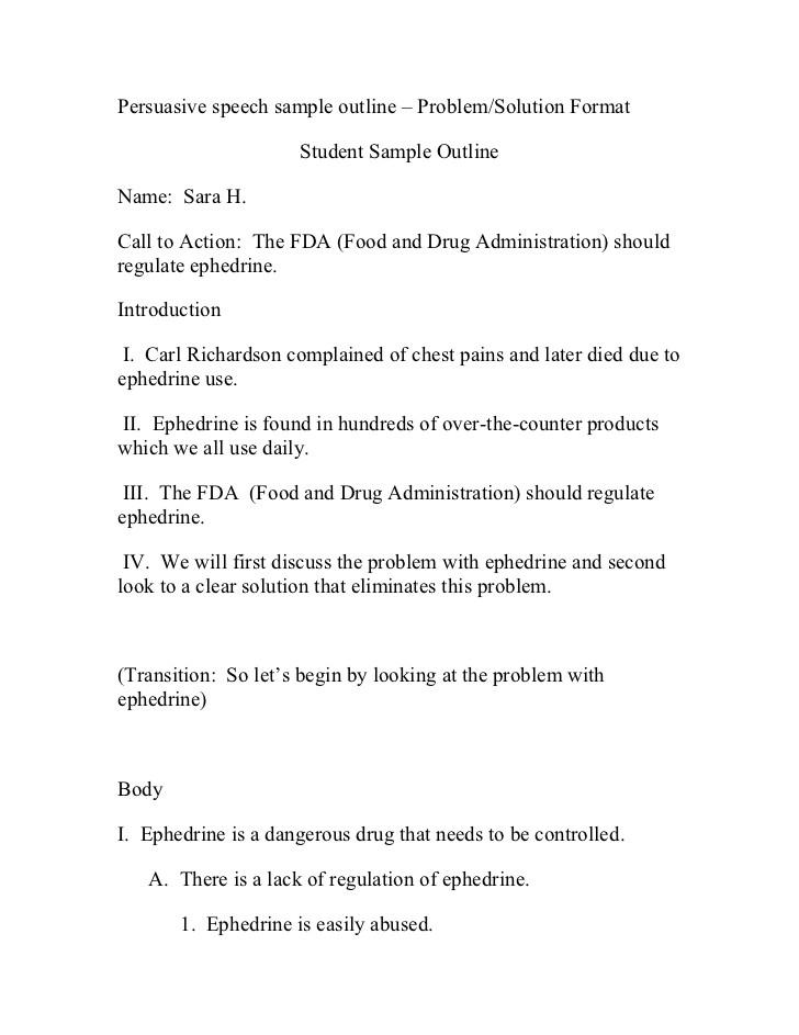persuasive speech sample outline problem 10048203