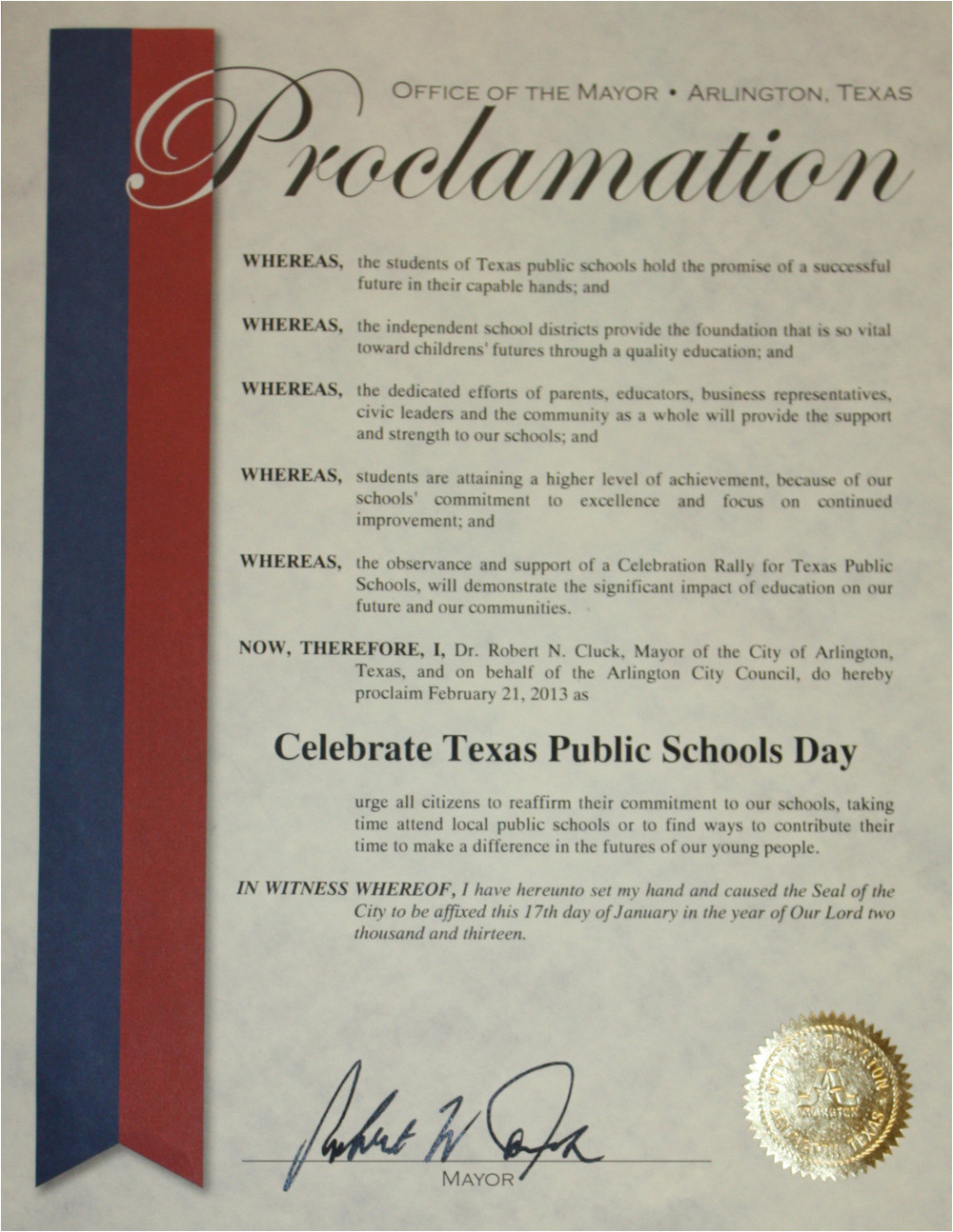 Proclamation Templates Your Mansfield isd February 2013