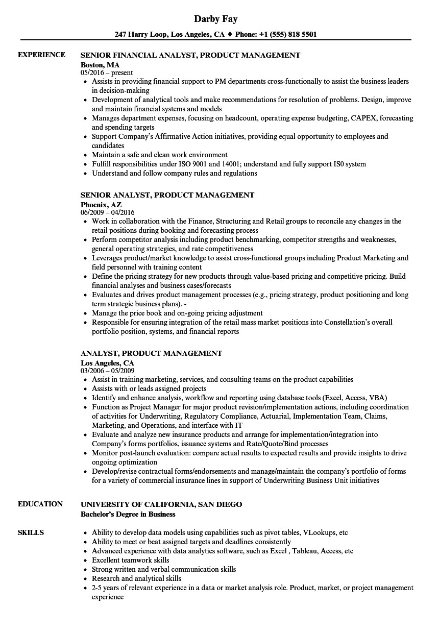 analyst product management resume sample