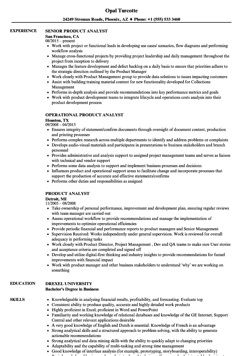 product analyst resume sample