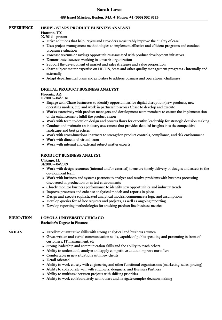 product business analyst resume sample
