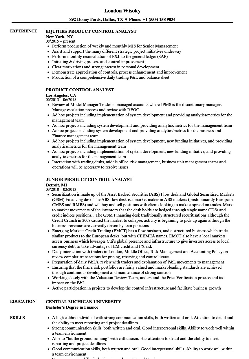 product control analyst resume sample