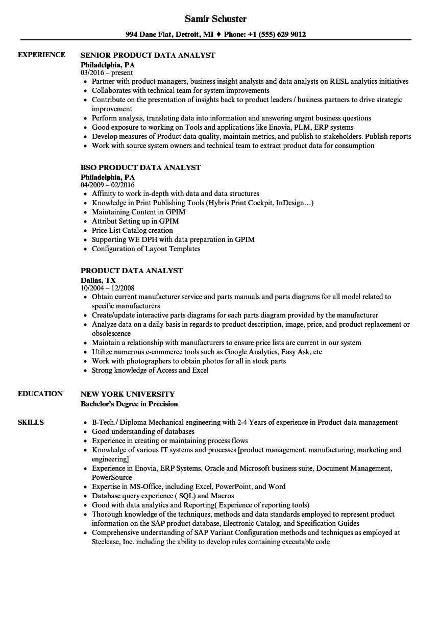 product data analyst resume sample
