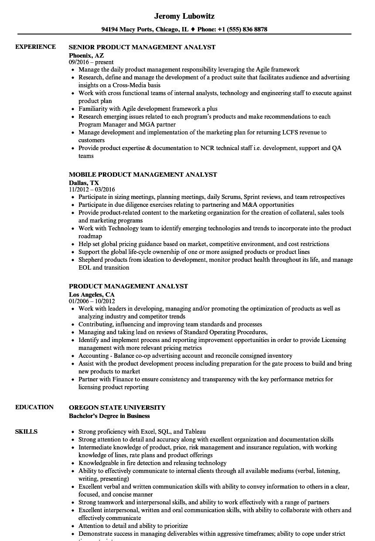 Product Analyst Resume Sample Product Management Analyst Resume Samples Velvet Jobs